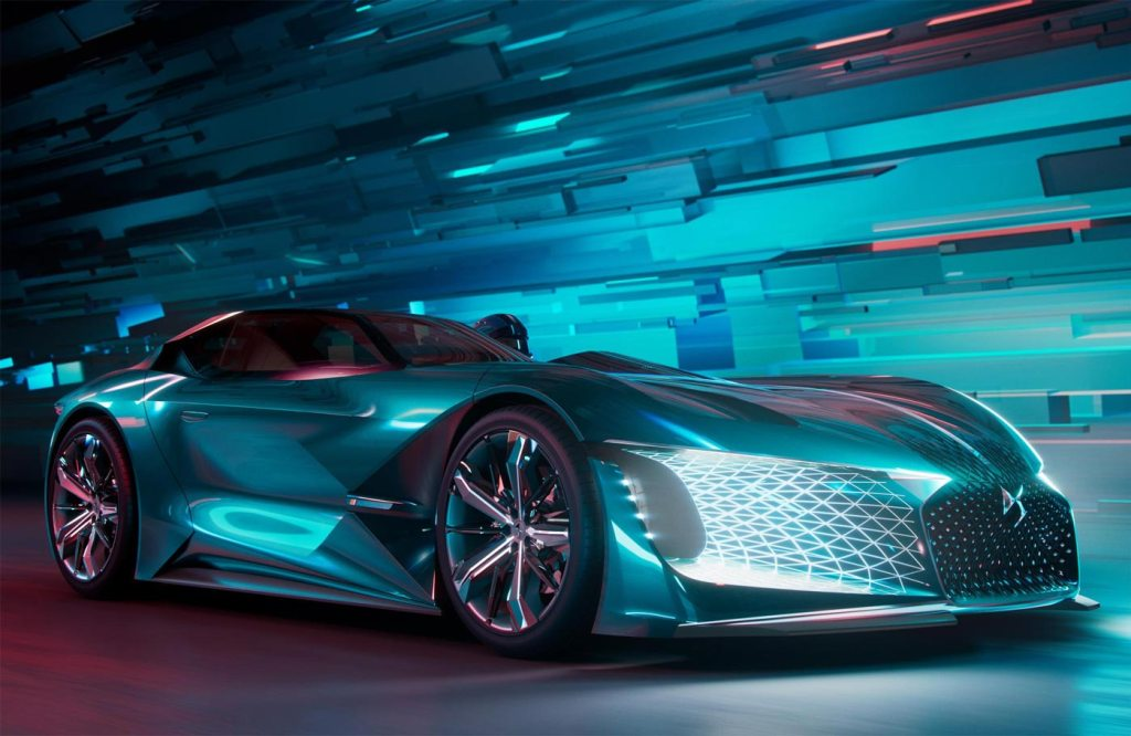 Three quarter view of the stunning DS X E-Tense concept