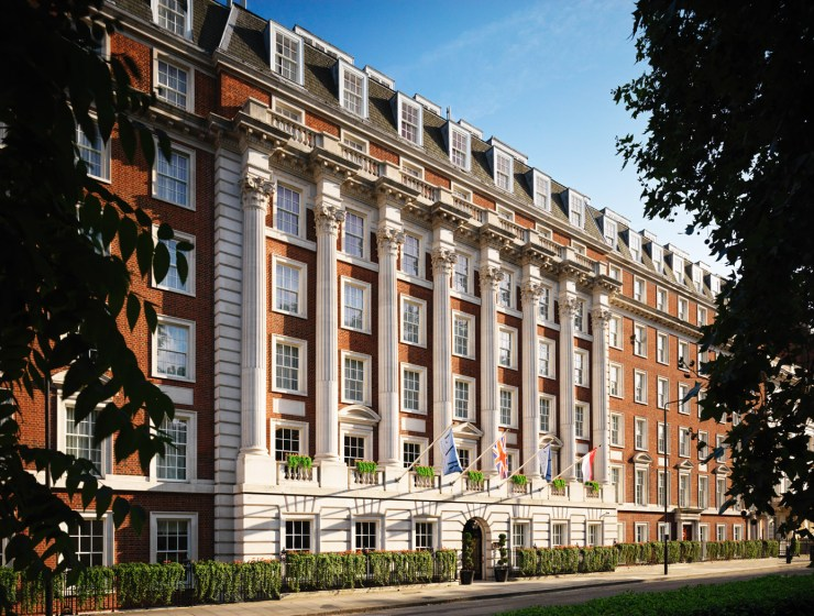 The exterior of the Biltmore Mayfair on Grosvenor Square, London.