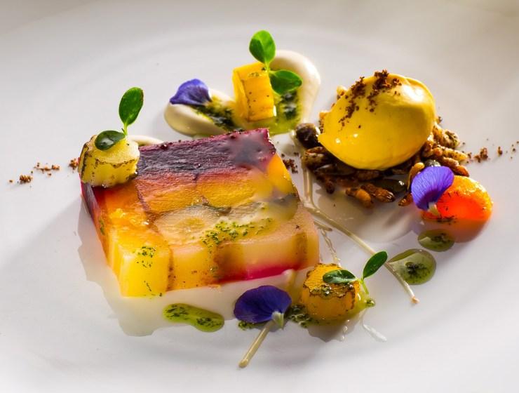 Hambleton Hall - Terrine of heritage carrot, star anise ice cream, tarragon oil