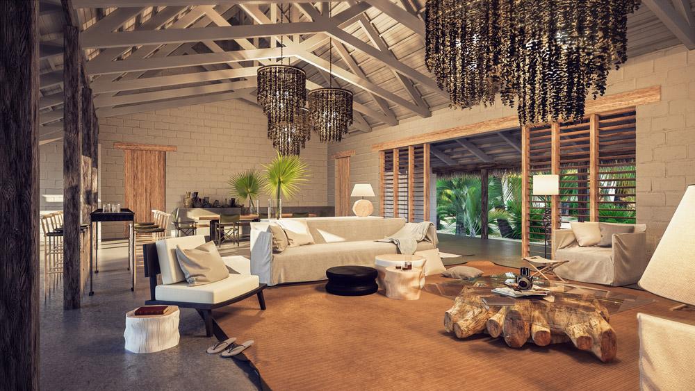 The interior of one of the new villas at Alphonse Island Resort