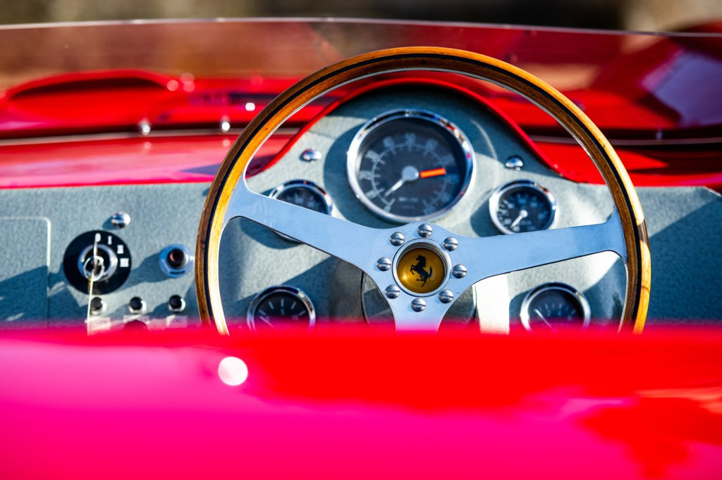The exquisite dashboard of the Auto Royale Shark Nose Ferrari 196 SP.