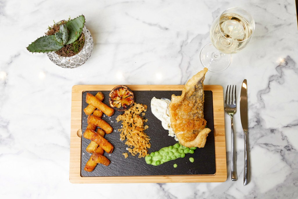 Fish and Chips at SW7 Brasserie & Bar in South Kensington, London.