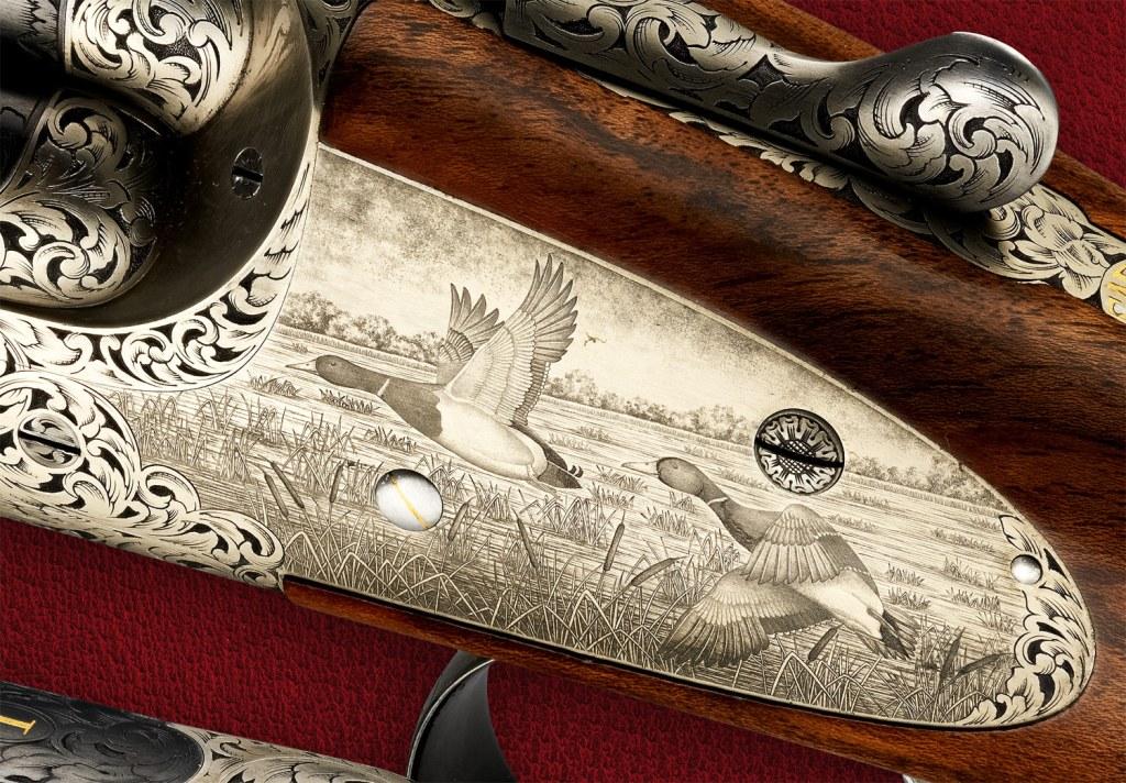 Handmade engraving on a gun stock