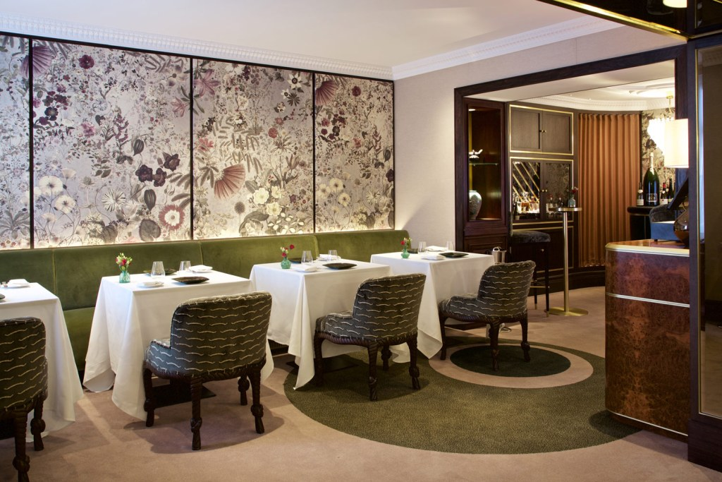 Interior of Seven Park Place restaurant in London