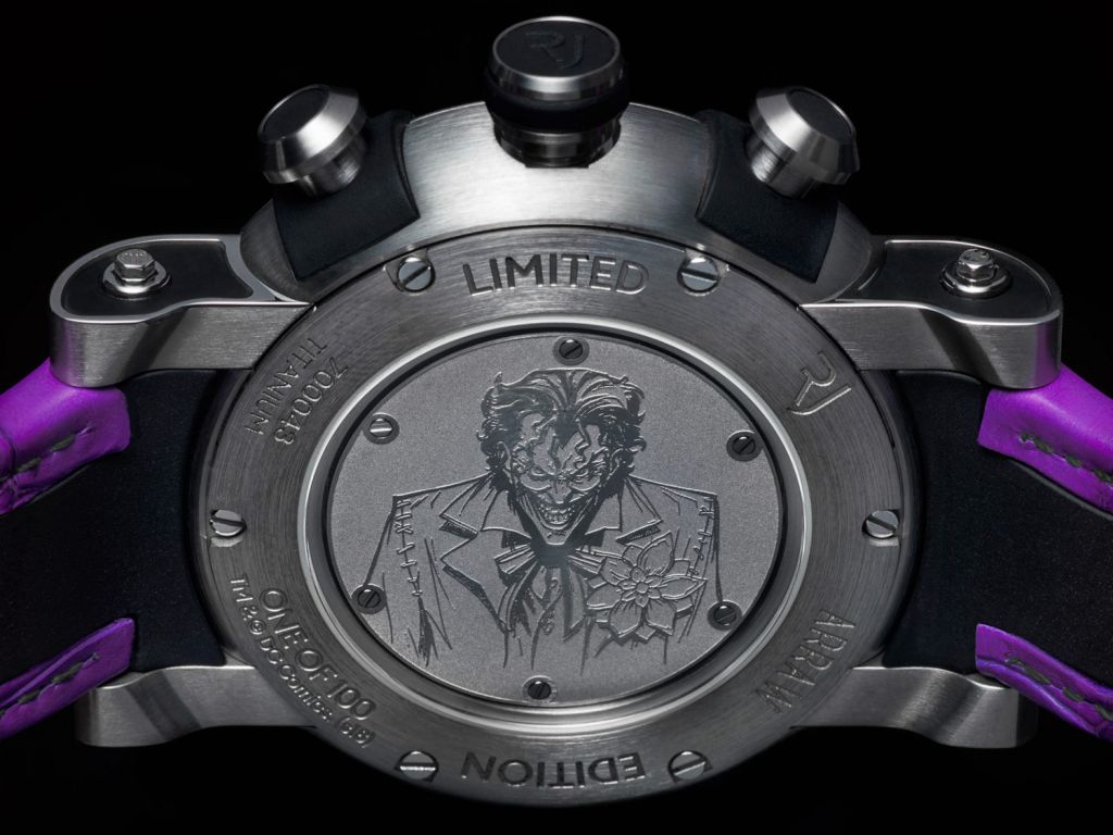 Rear case of RJ Joker watch showing engraving