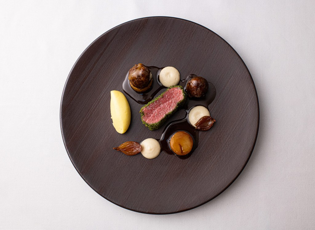 Saddle of Lamb with Turnips, Onions and Thyme.