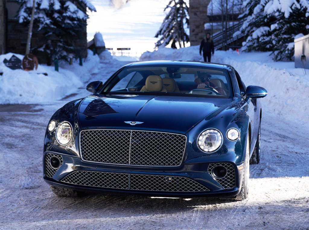 Bentley driving around in the snow
