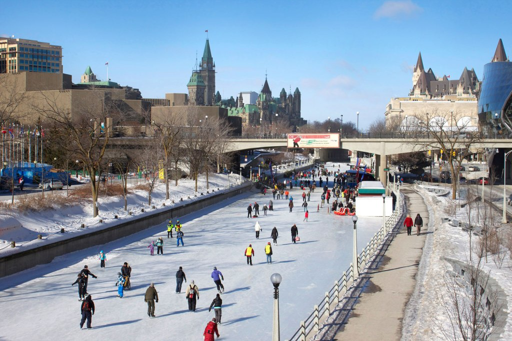 Skating on the Rideau Canal Skateway during Winterlude. Image courtesy of Ottawa Tourism