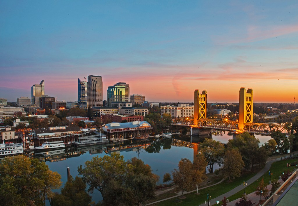 The Sacramento skyline at dusk