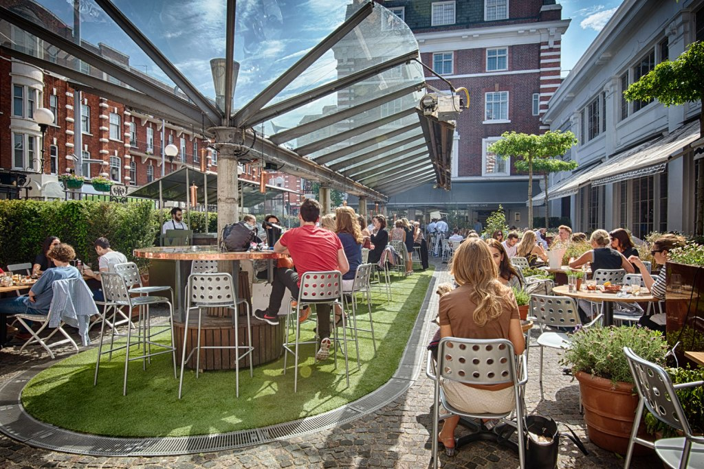 The Bluebird restaurant outside terrace in Chelsea
