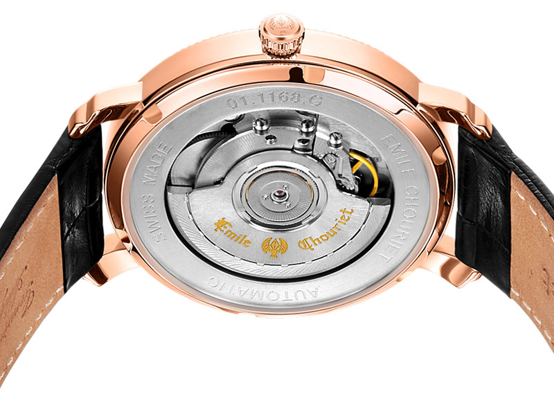 The 18k rose gold case on the Lac Léman Date measures a decent 40mm wide
