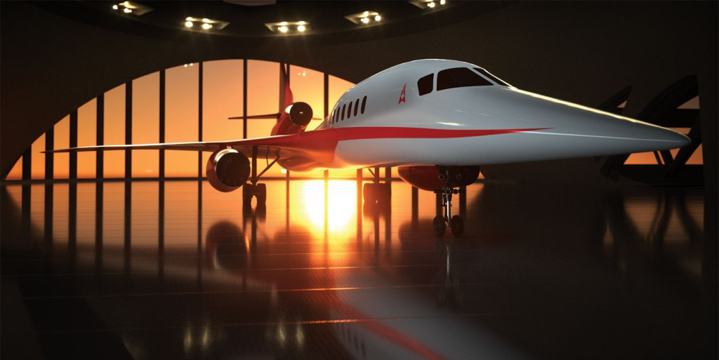 Aerion Supersonic AS2 Business Jet in a hangar