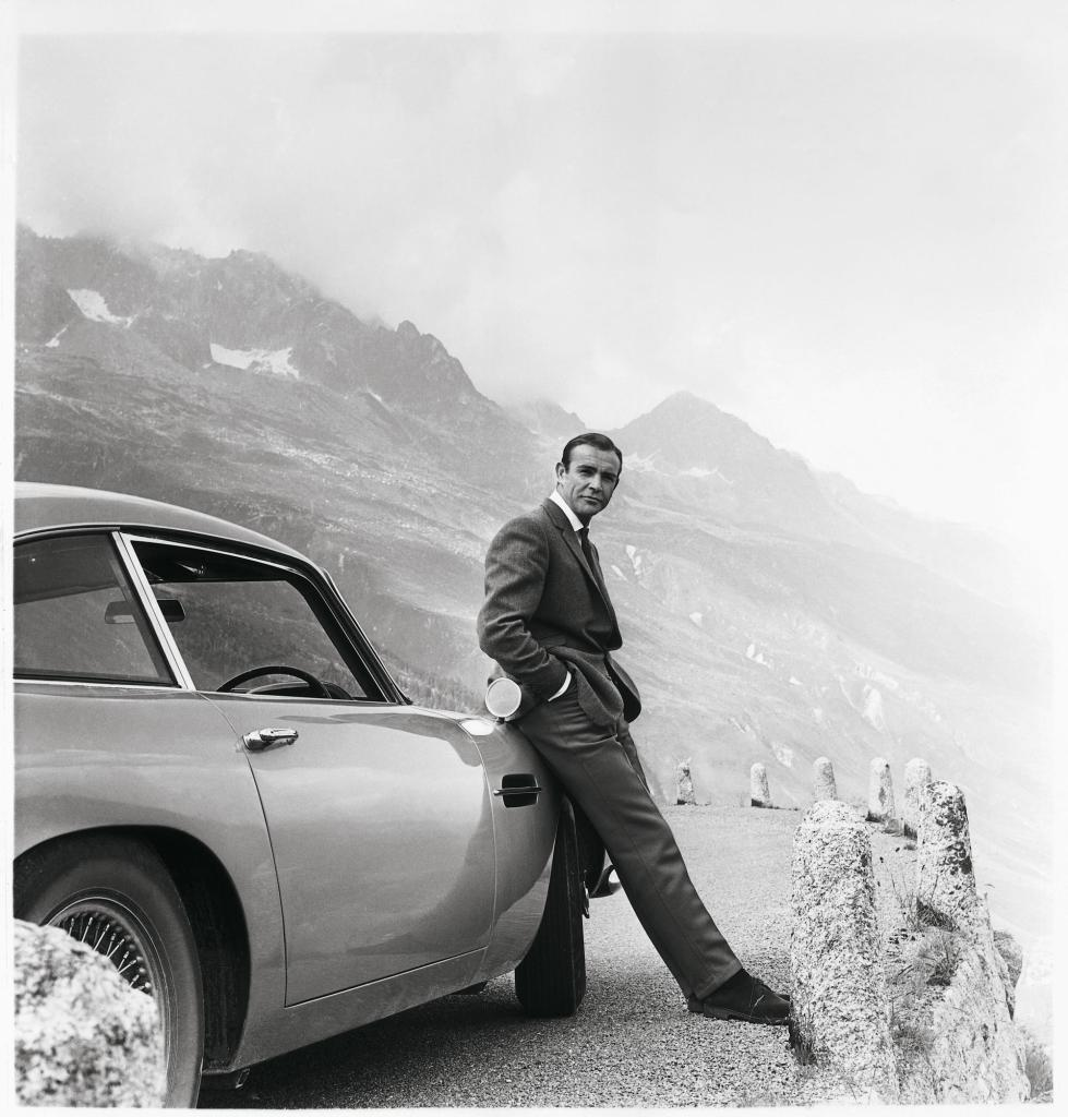 Sean Connery with an Aston Martin DB5