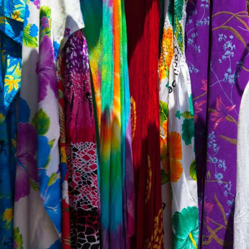 Colorful fabrics for sale at Port Zante, Basseteerre, St Kitts