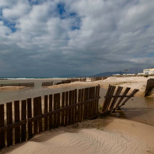Fences of the Los Lances beach at Tarifa, Andalusia, Spain.