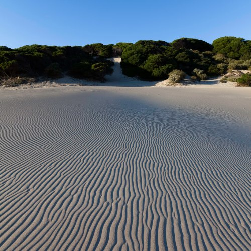 Geometric patterns in the sand of a beach at coastal village of Bolonia, Tarifa, Province of Cadiz, southern Spain.