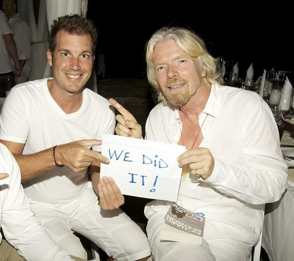 Joe Player with Richard Branson for LightForCause.com