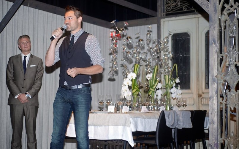 Tyson Villeneuve of The Social Concierge sincerely thanking the guests for their generosity.