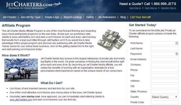 JetCharters Affiliate Program