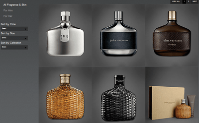 John Varvatos has easy-to-navigate product pages