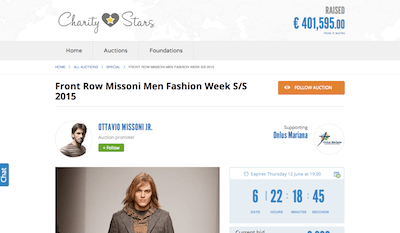 Missoni charity auction bidding page