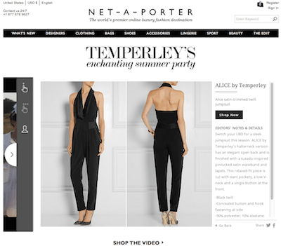 Temperley Shoppable Net-A-Porter ecommerce
