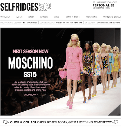Selfridges Moschino ss15 email