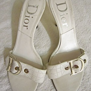 Christian Dior White Leather Mules