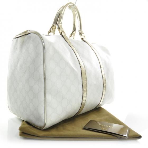 gucci gg white canvas joy boston bag strap luxurylana boutique