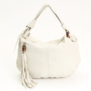 Gucci White Leather Bamboo Jungle Hobo Bag