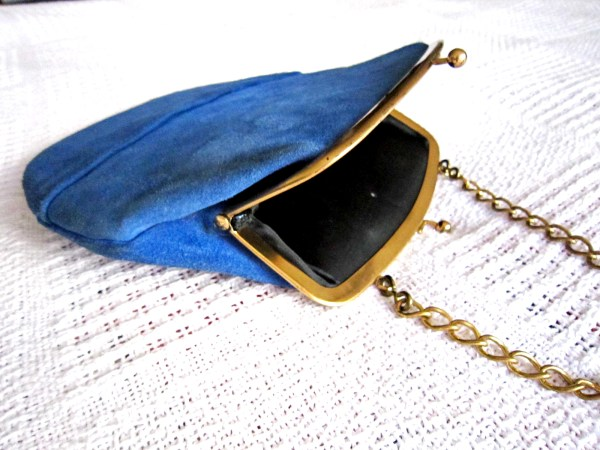 Triangle New York Blue Suede Kiss-Lock Handbag-3