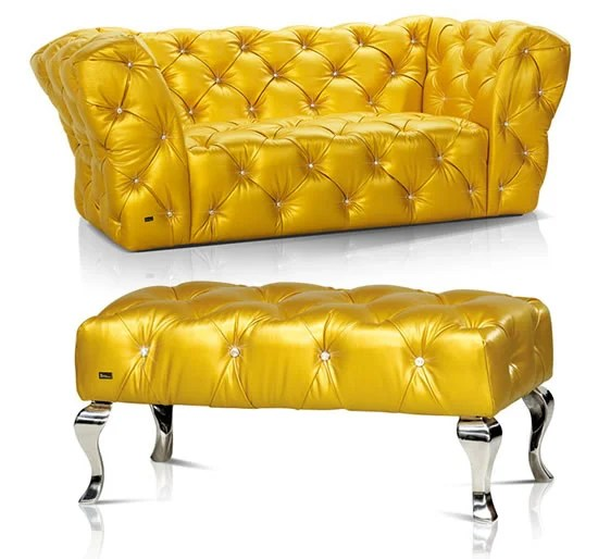 Bertz Yellow Leather Furniture Screams Bling With