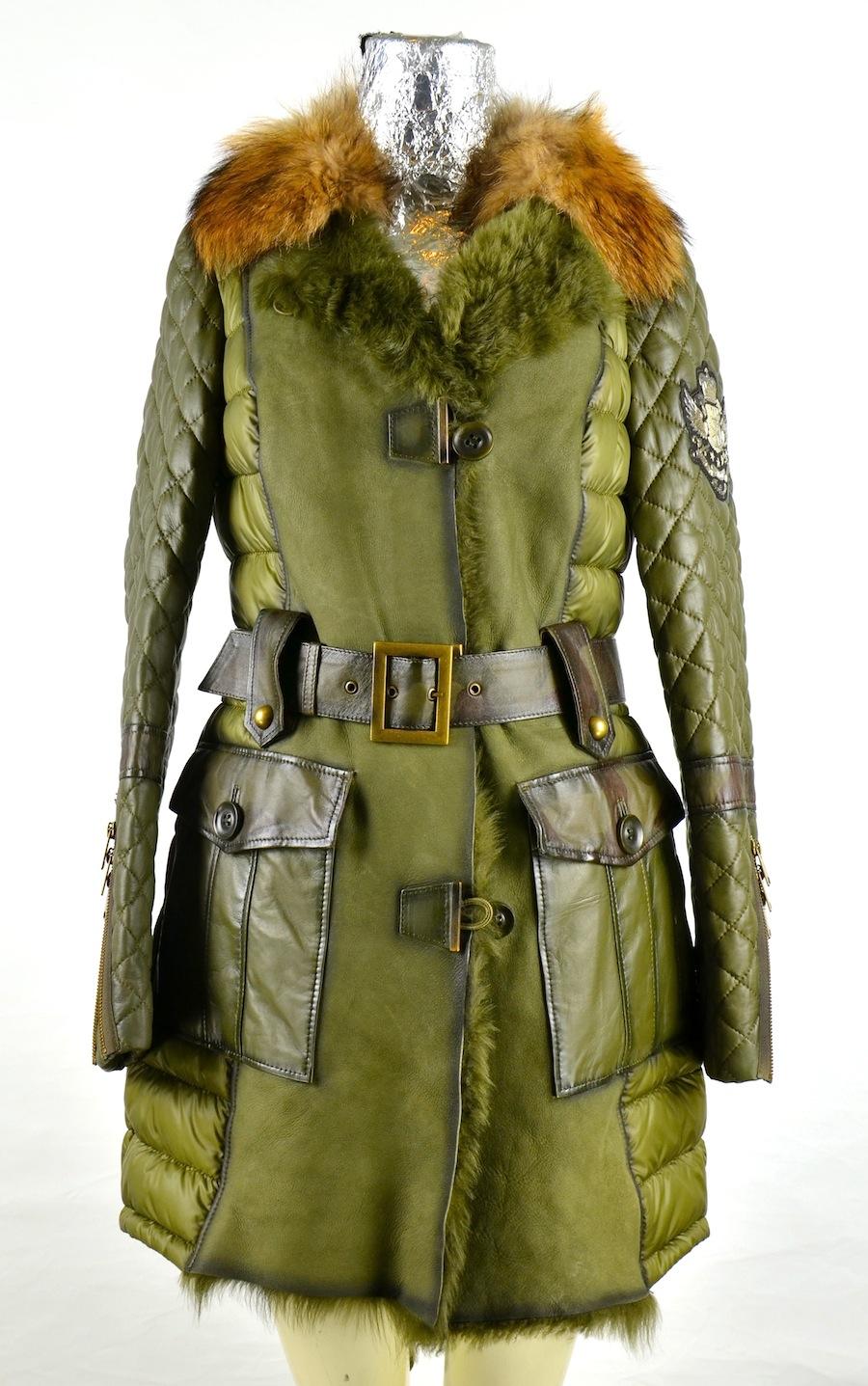 Pelle Luxury Leather Tessuto Pelliccia Shearling Cappotto In E 6qxEBBA