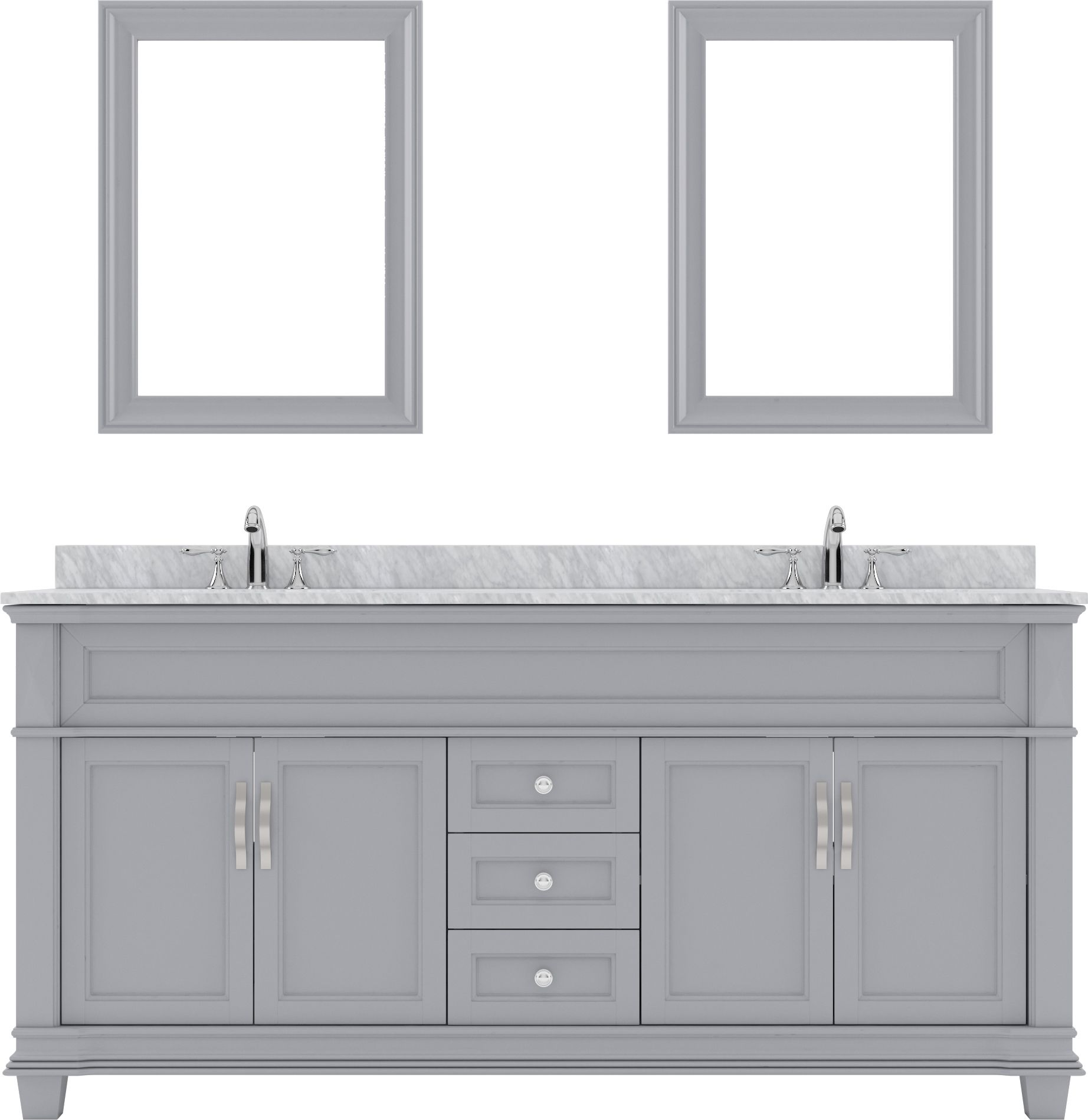 victoria 72 md 2672 wmsq gr double bathroom vanity in gray with marble top and square sink with mirrors