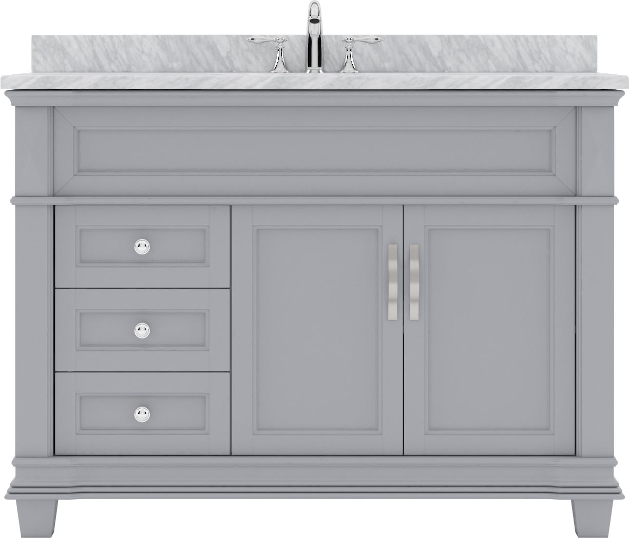 victoria 48 ms 2648 wmsq gr nm single bathroom vanity in grey with marble top and square sink