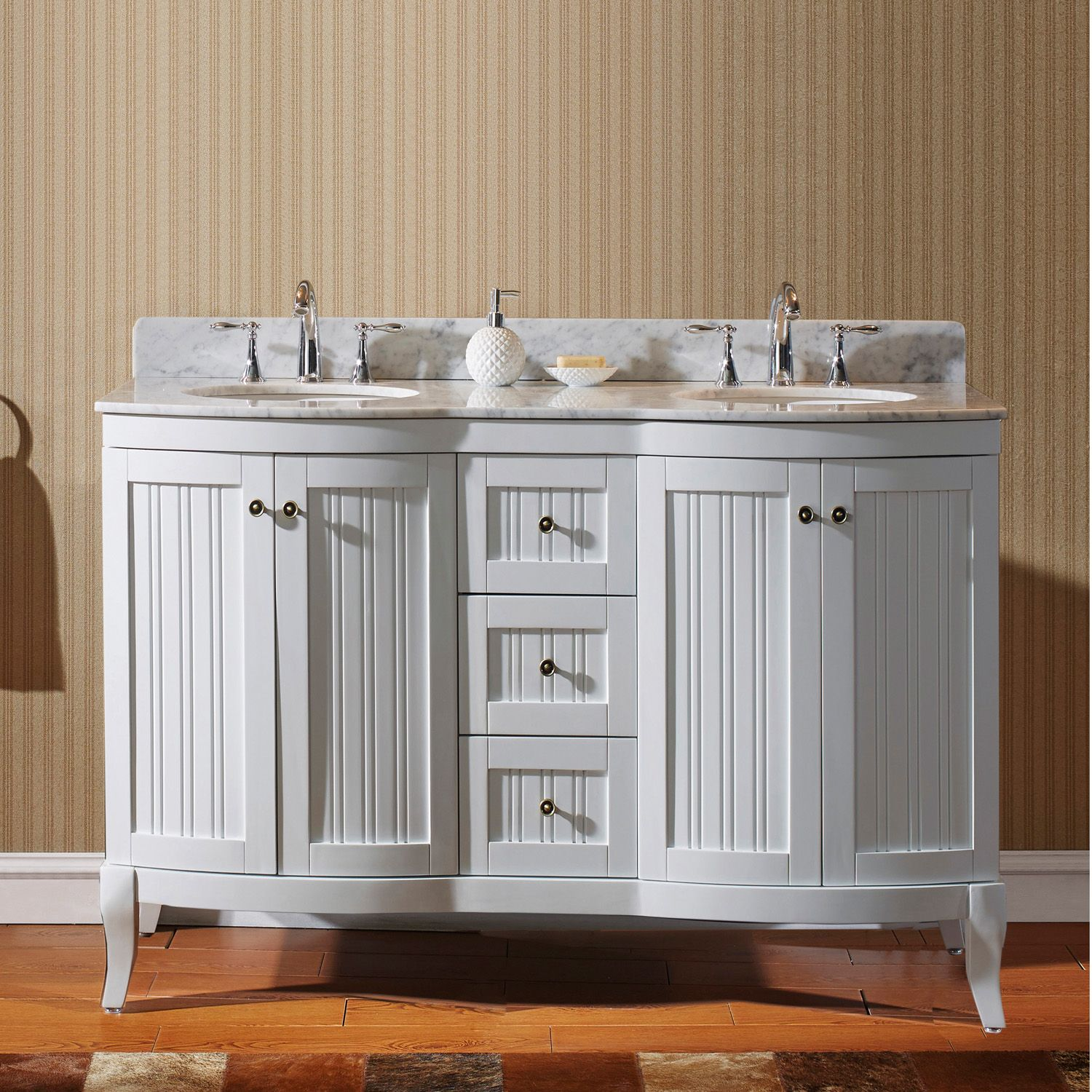khaleesi 60 ed 52060 wmro wh nm double bathroom vanity in white with marble top and round sink