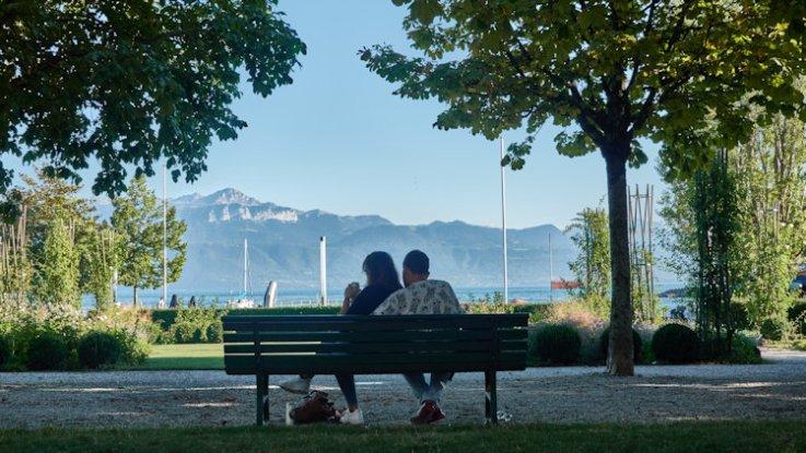 Vue romantique au bord du lac Beau Rivage Palace