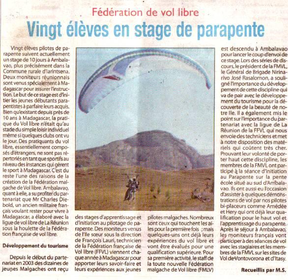Article sur le parapente paru dans la presse malgache dans le cadre de la coopération