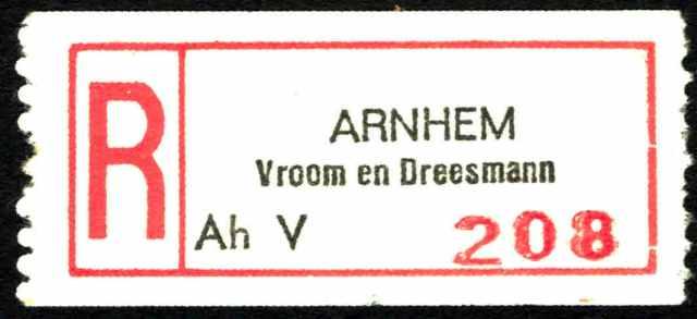 Arnhem V & D aantekenstrookje