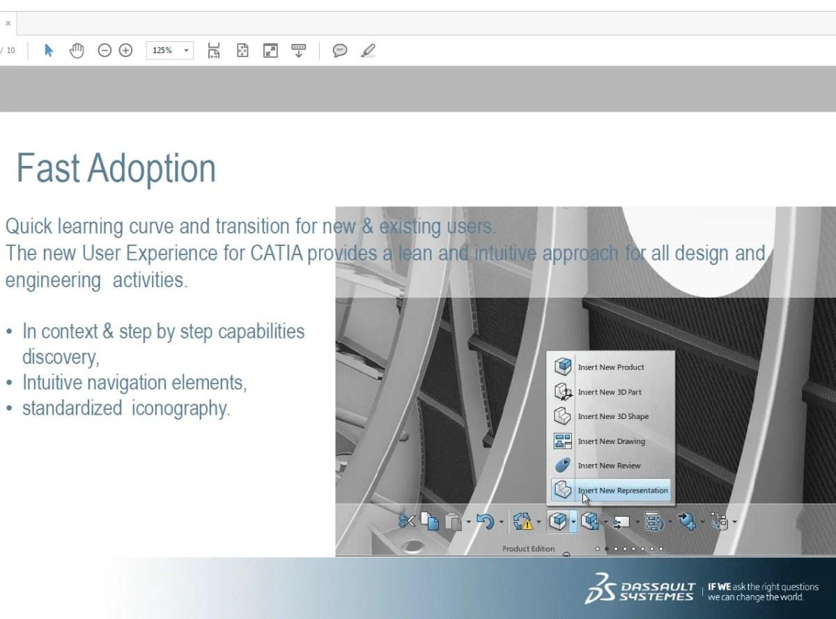 Menu do novo Catia 3D Experience mostrando opções de edição de produto que pode ser feita. Continue lendo nosso artigo.