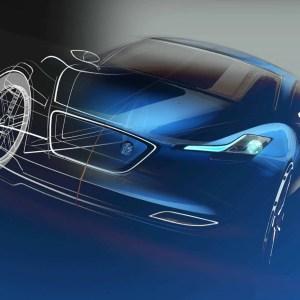 Modelo de carro criado à partir do software Catia V5. Carro com tons de azul que vão do escuro ao claro em diversas partes do modelo. Carro com aparência normal, em seu lado direito, e com aparência de esboço, na parte esquerda do modelo.