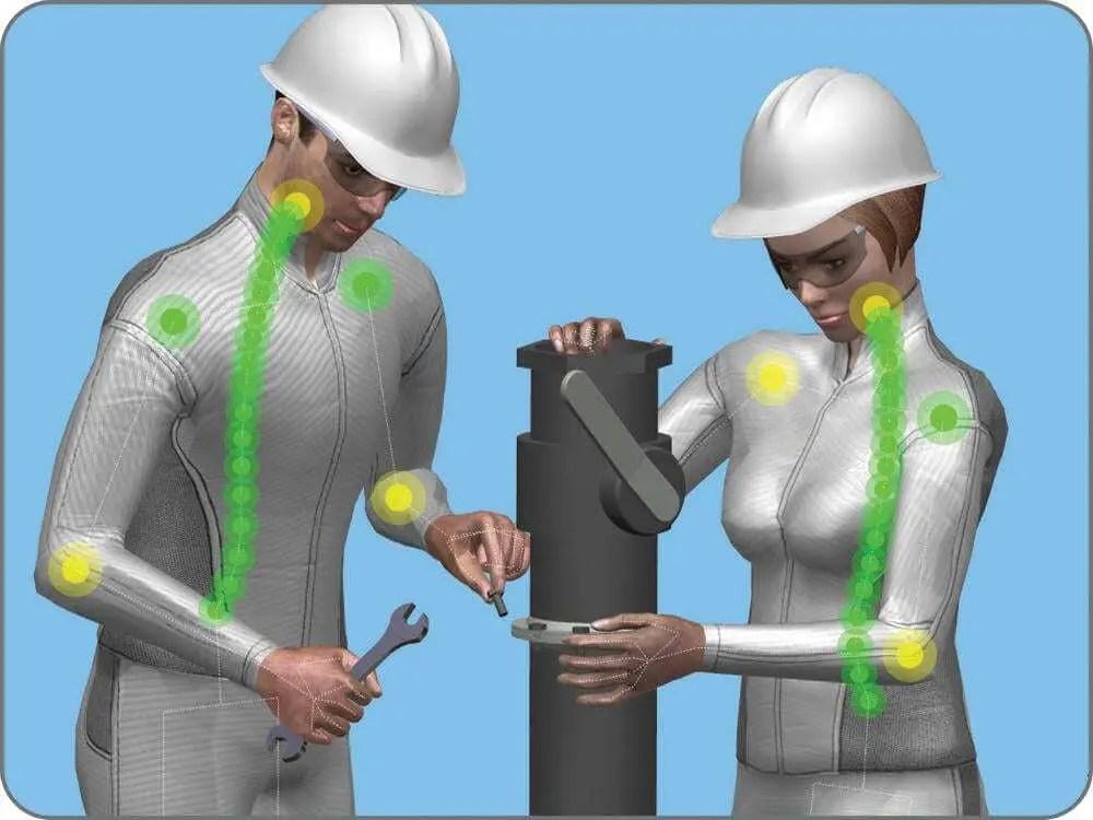 Modelo de pessoas criados digitalmente com roupas na cor prata e capacete de obra prata. Ambos estão usando óculos de proteção e ajustando peça de indústria. Fundo da imagem em azul.
