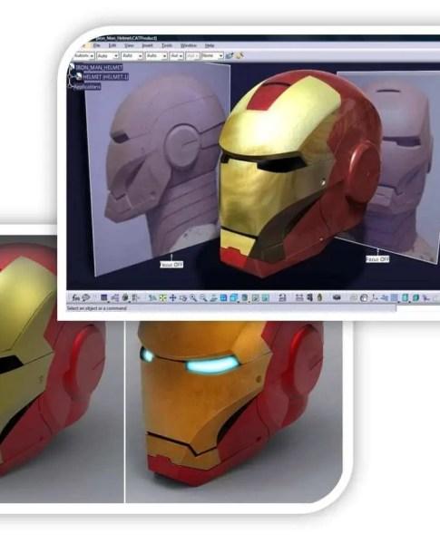 Modelo do capacete do herói Homem de Ferro (Iron Man) modelado dentro do Software Catia V5 com base no que é aprendido no curso de catia v5 superfície básica.