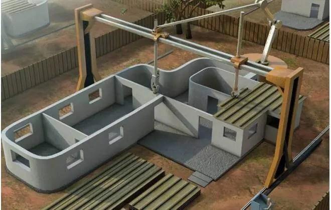 Modelo de Impressora 3D imprimindo casa em espaço fechado. Continue lendo nosso post.