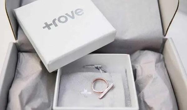 Caixa branca com logo da Startup Trovo com modelos de joias impressas em 3D dentro. Confira nosso post!!