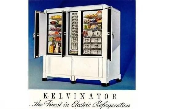 Antiga publicidade impressa de refrigerador criado pela Kelvinator.