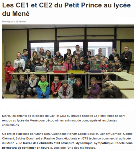 Les CE1 et CE2 du Petit Prince au lycée du Mené