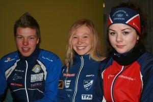 Tre av dagens medaljörer Marcus, Jonna och Rebecka