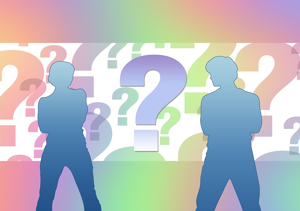 Graphic of man and woman with question marks