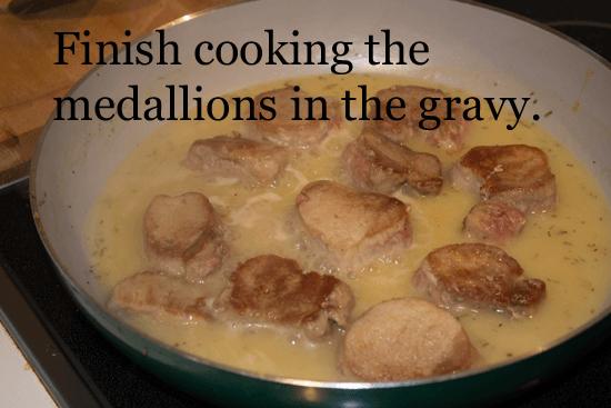 pan braised pork medallions in gravy